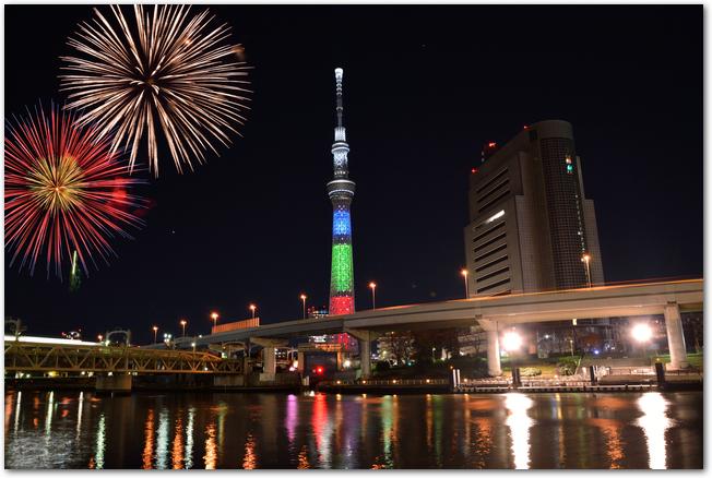 隅田川とスカイツリーと打ち上げ花火の見える光景