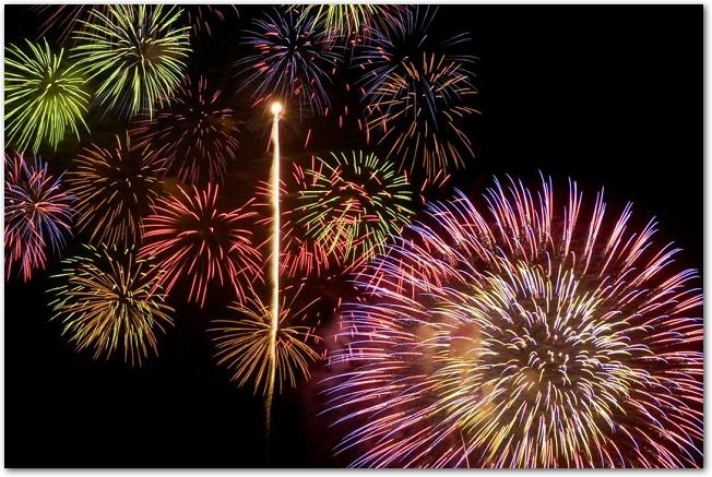 夜空に打ち上げられている大輪の打ち上げ花火の様子