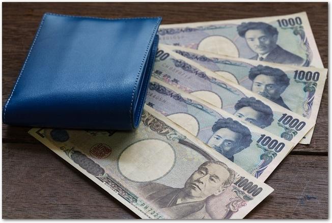 木のテーブルに置かれた青い財布と紙幣